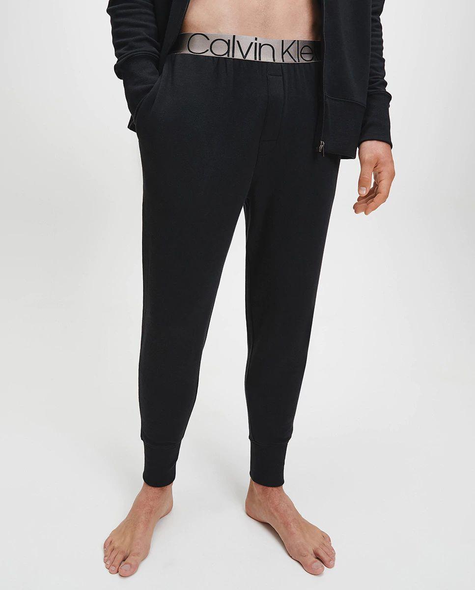 Pantalón de estar por casa largo de hombre de punto negro