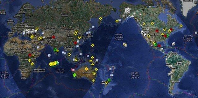 Mapa de todos los desastres naturales y artificiales en tiempo real