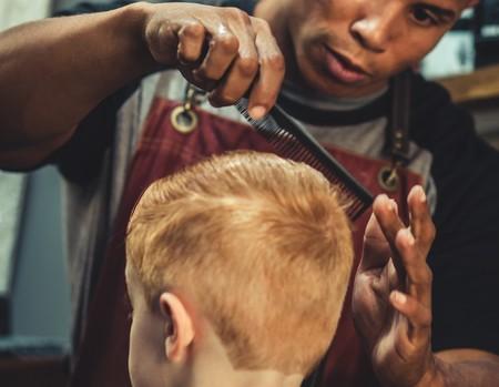 Boy Sitting Trimmed By Man Holding Scissor 2090771