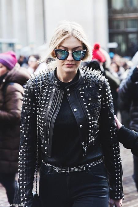 New York Fashion Week Fall Winter 2015 Street Style Nyfw Studded Leather Jacket Diesel Gigi 790x1185