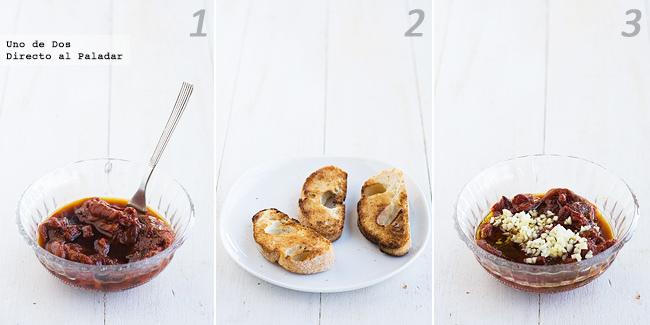 Receta de Tostas de ensalada de pimientos con queso paso a paso