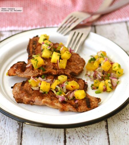 Chuletas de cerdo a la teriyaki con salsa de piña. Receta