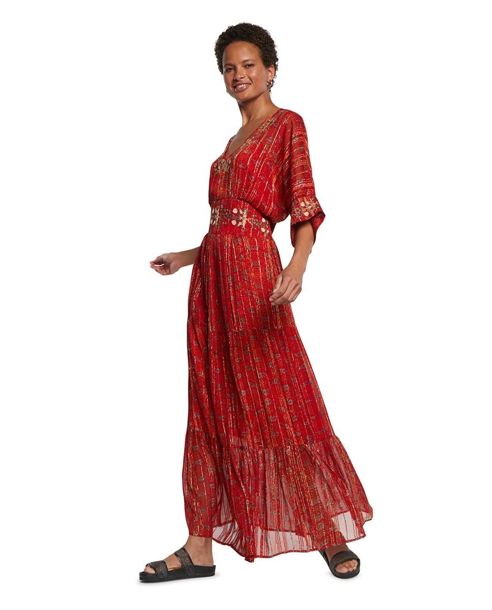 Vestido largo étnico con tejido brillante de Desigual