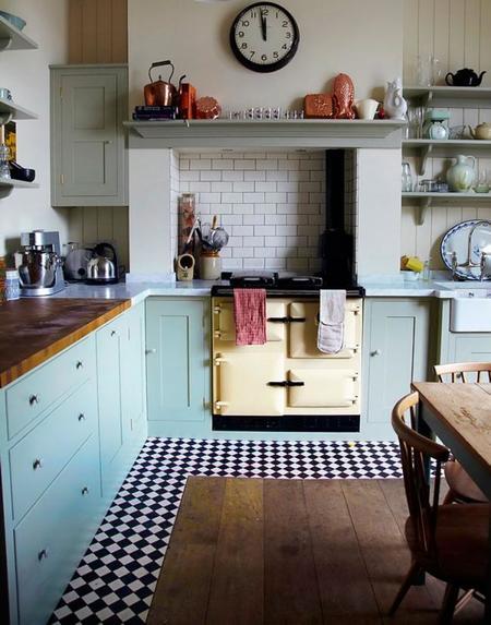 Creativos suelos que combinan la madera con la baldosa for Cocinas vintage modernas