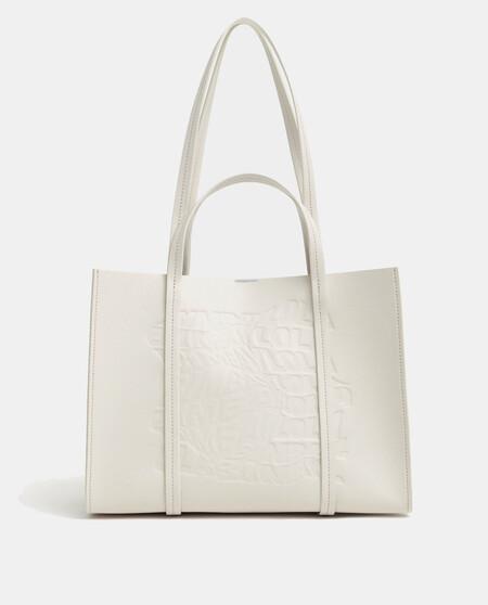 Bolso Shopper Bimba Y Lola En Blanco Roto Con Panel Grabado Frontal