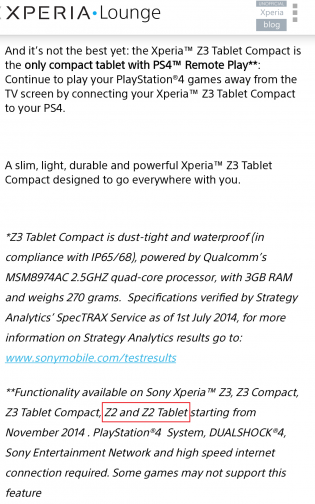Xperia Z2 Tablet Ps4
