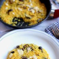 Receta de risotto sencillo de setas al azafrán
