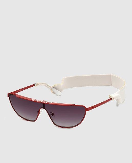 Gafas de sol unisex Guess de lente única y montura de metal en rojo
