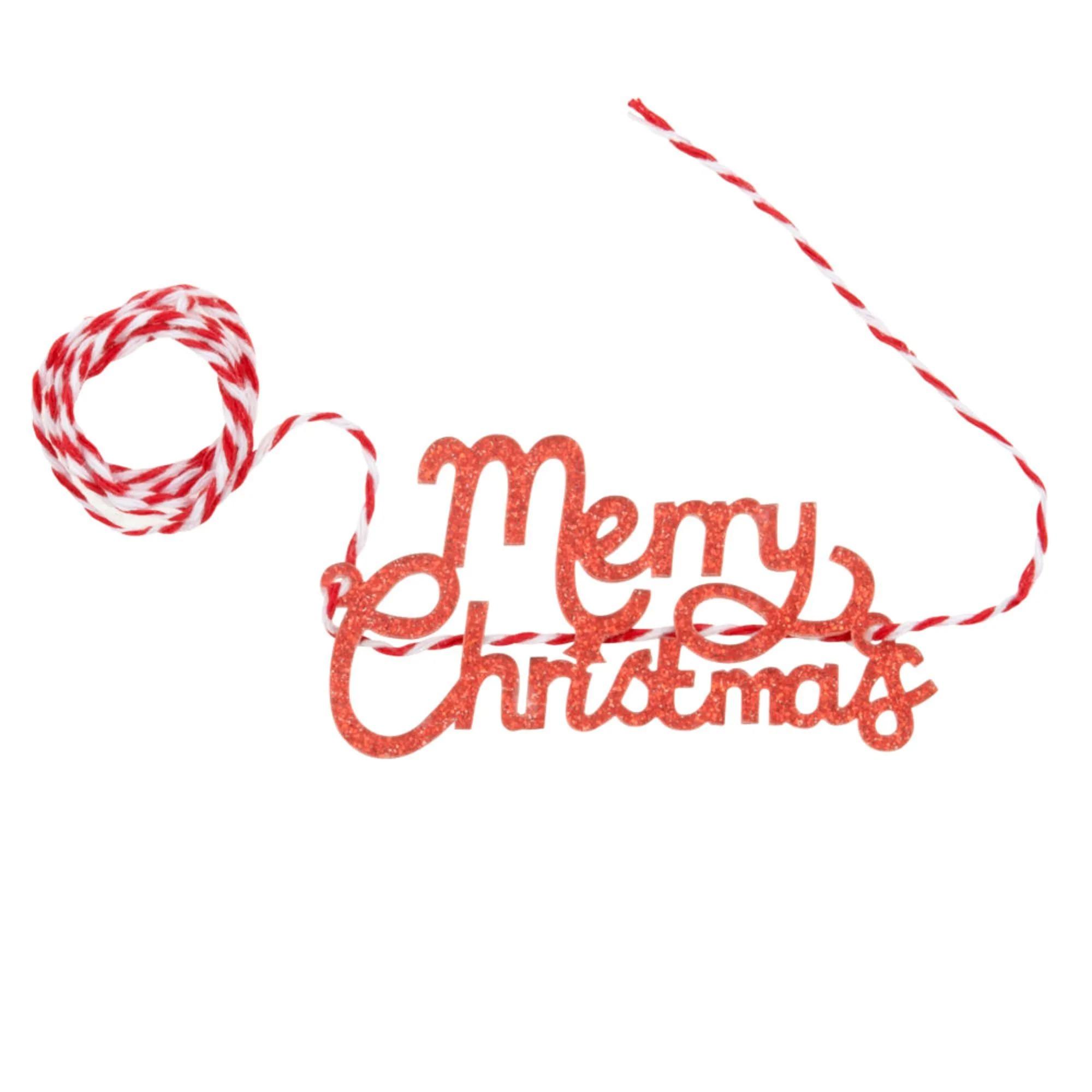 MERRY XTMAS.- Cinta de Navidad con palabras en rojo y blanco - Lote de 14