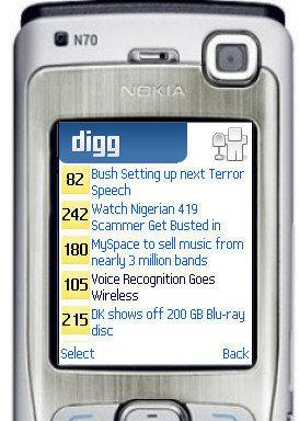 Digg java mobile, navegando por digg