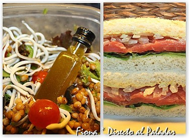 Comida para llevar. Ensalada de lentejas con gulas y sandwich de salmón dos salsas