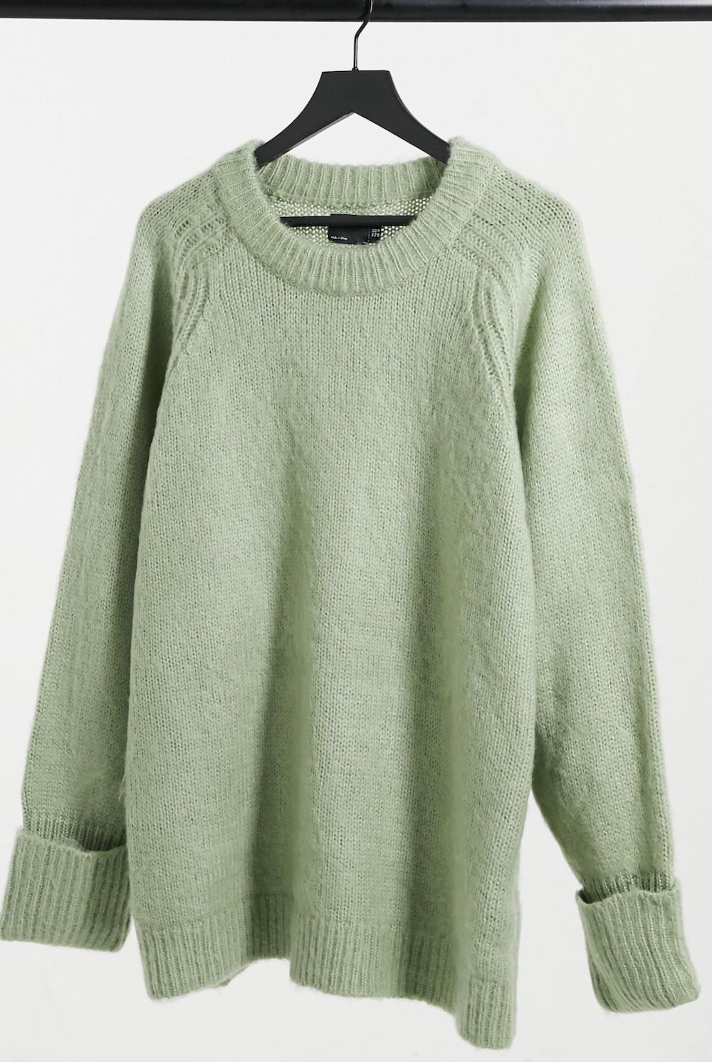Jersey extragrande verde salvia de hilo cepillado de ASOS DESIGN Curve