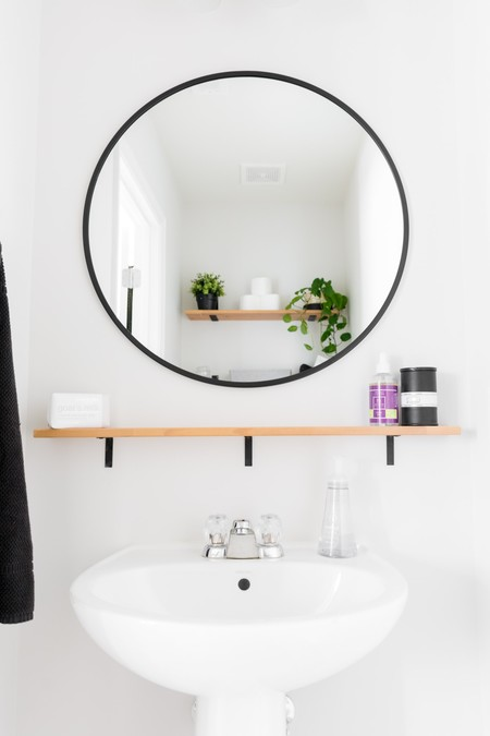Tiny Monochrome Powder Room 10