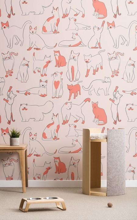 Papel Pintado Rojo Con Gatos Lifestyle Web