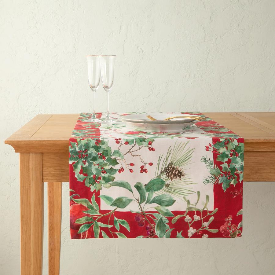 Camino de mesa navideño de algodón Winterberries 50x150