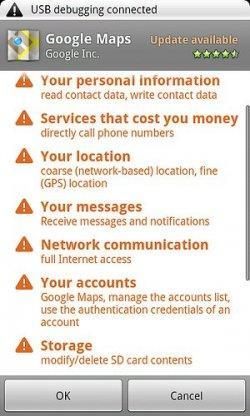 Información de los permisos que se le da a una aplicación. ¿Veis algo raro?