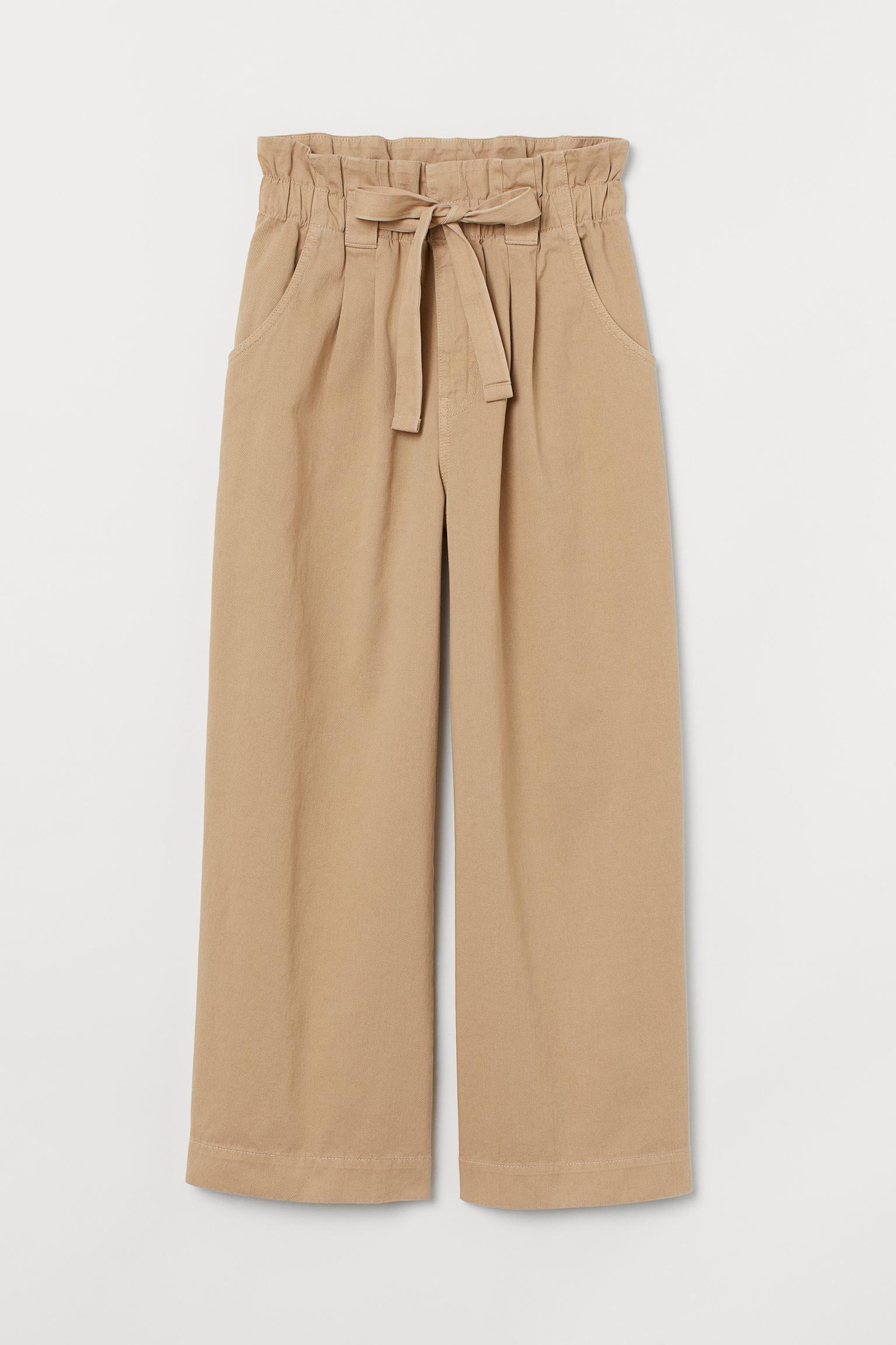 Pantalón ancho con cintura paperbag elástica y cordón