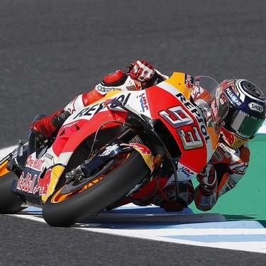 Marc Márquez arriesga y gana el séptimo título en el GP de Japón y Andrea Dovizioso acaba en el suelo