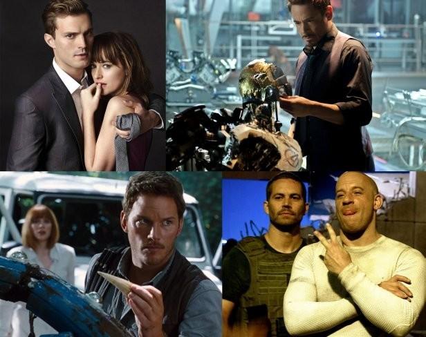 Imágenes de Cincuenta Sombras de Grey, Vengadores: La Era de Ultrón, Jurassic World y Fast and Furious 7