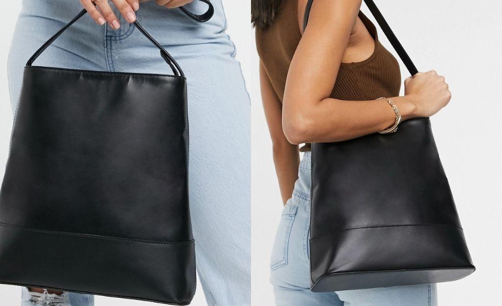 Bolso tote negro de corte sencillo y diseño estructurado de cuero de ASOS DESIGN