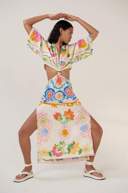 Zara Vestido Cut Out Print 02