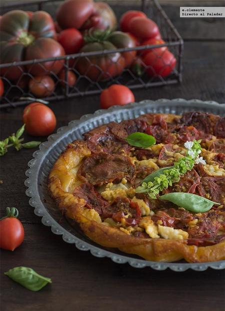Tarta tatin de tomates y queso fresco de cabra. Receta