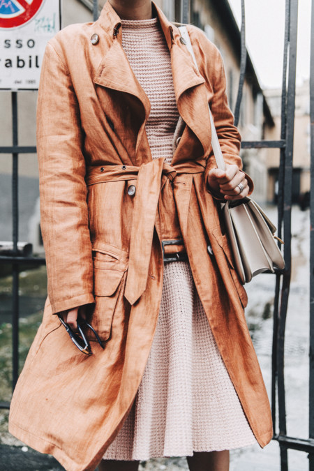 Armani Trench Coat Pink Dress Chanel Slingbacks Celine Box Bag Outfit Milan Fashion Week Street Style 4