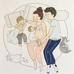 Preciosas ilustraciones de una madre de dos niños que reflejan el día a día de la maternidad