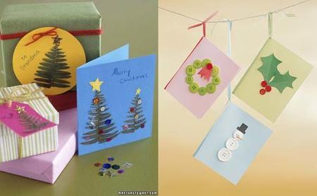 Tarjetas de navidad con hojas de helecho y botones - Como hacer targetas de navidad ...