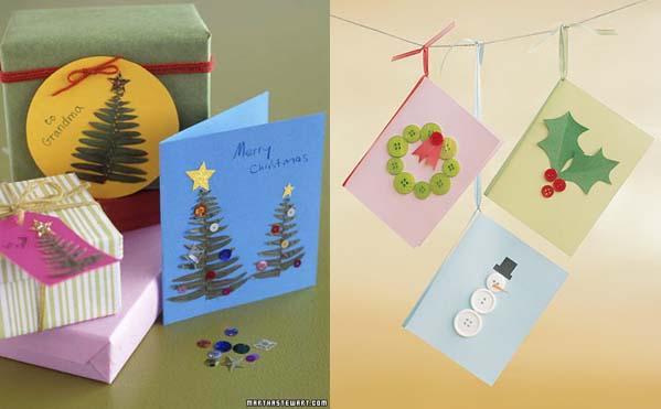 Tarjetas de Navidad con hojas de helecho y botones
