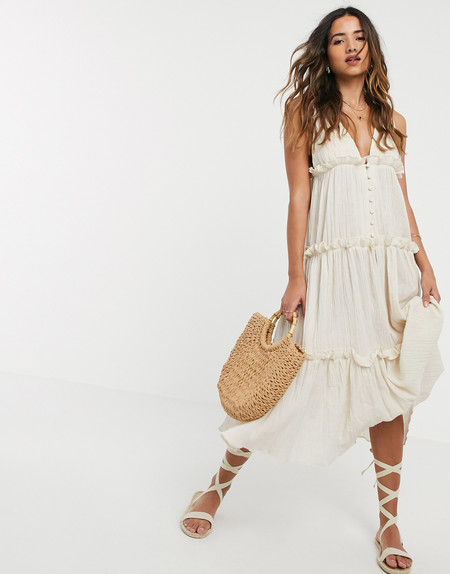 Asos Design Button Front Tiered Midi Sundress In Textured Crinkle In Stone 1