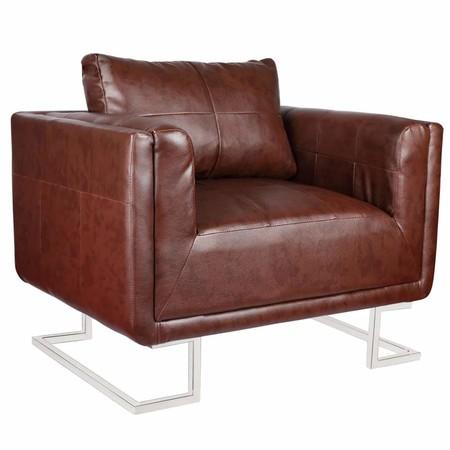 binzhoueushopping sillón A Cubo con Patas Cromo y Piel Artificial Marrón diseño cómodo, Moderno, cómodo y Resistente sillón de Oficina