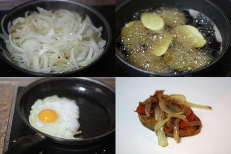 Milhojas de patatas con sobrasada y huevo frito. Pasos