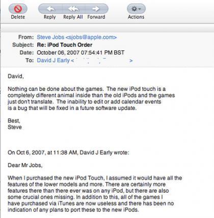 ¿No se puede editar citas en el iPod Touch? Steve dice que se podrá