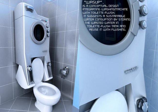 Baño Pequeno Lavadora:La lavadora integrada en el baño
