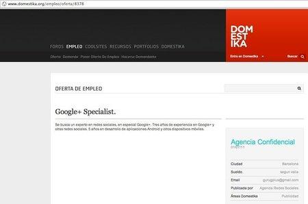 Ofertas de trabajo: experto en Google+ con tres años de experiencia o cómo ponerte en evidencia