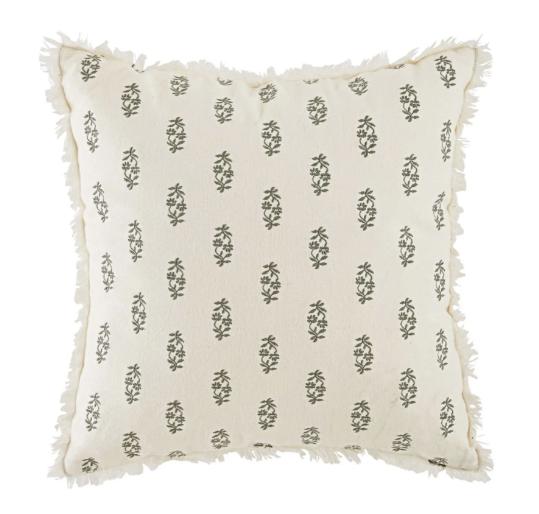 Cojín de algodón y lino bordado y azul grisáceo 45x45