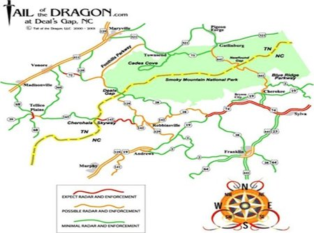 Mapa de radar Tail of  the dragon