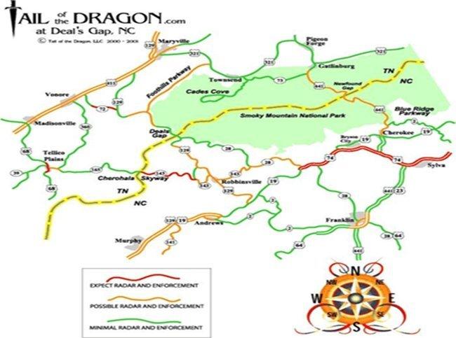 Mapa de radar Tail of  the dragon