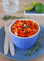 Ensalada de zanahoria rallada y piquillos. Receta ligera