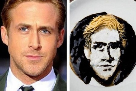 Originales retratos de famosos hechos con fideos por Sarah King