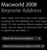 Disponible el vídeo de la MacWorld08 en HD