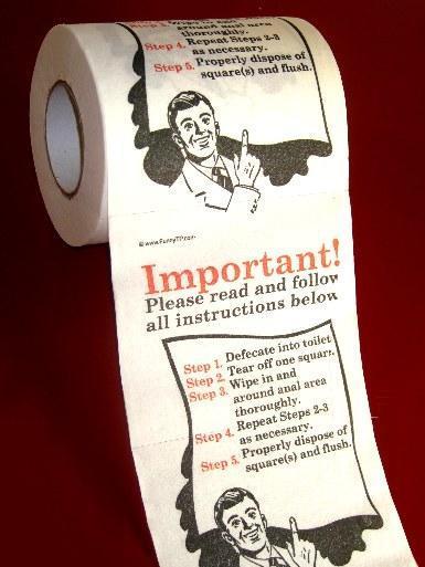 Papel higiénico con instrucciones
