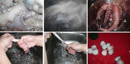 Preparación del pulpo al olivo