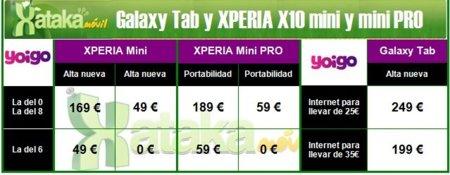 Samsung Galaxy Tab y SonyEricsson XPERIA X10 mini y mini PRO con Yoigo