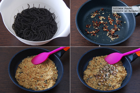 Espaguetis con Sardinas. Pasos