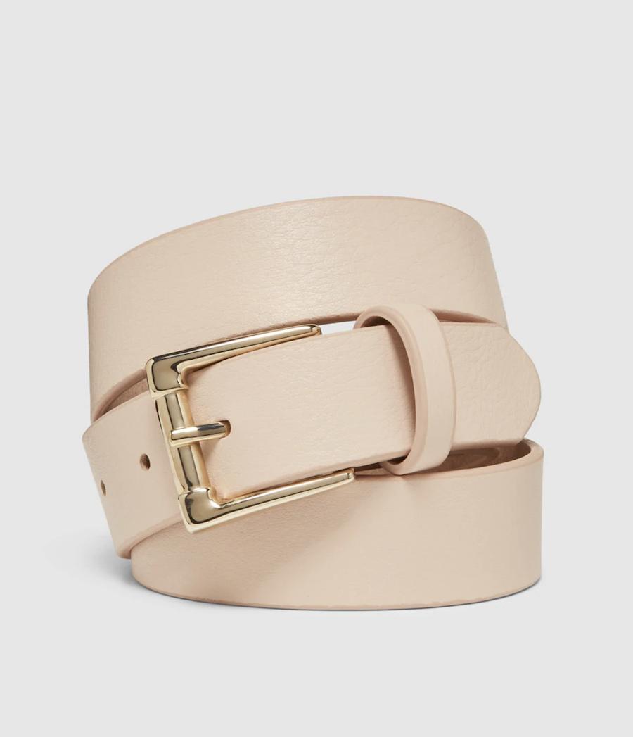 Cinturón de mujer El Corte Inglés de piel beige con hebilla cuadrada