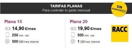 RACCTel también suma minutos a su tarifa plana 15 hasta 250 y 500 MB por 15 euros