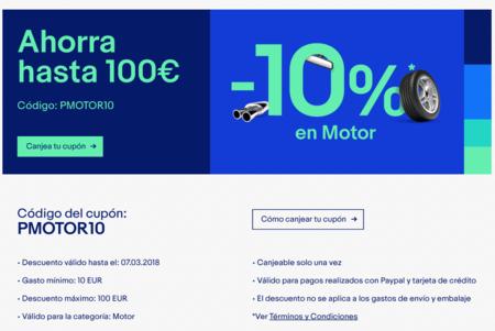 Nuevo cupón de descuento en eBay: 10% de descuento en productos del motor