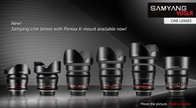 Samyang prepara el lanzamiento de seis objetivos V-DSLR para cámaras Pentax con montura K